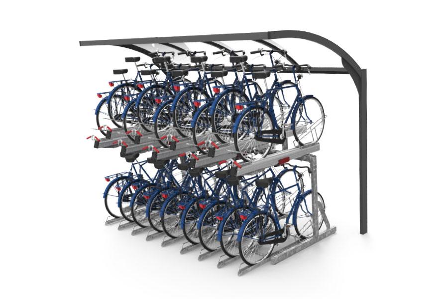 tettoia per biciclette a doppia altezza