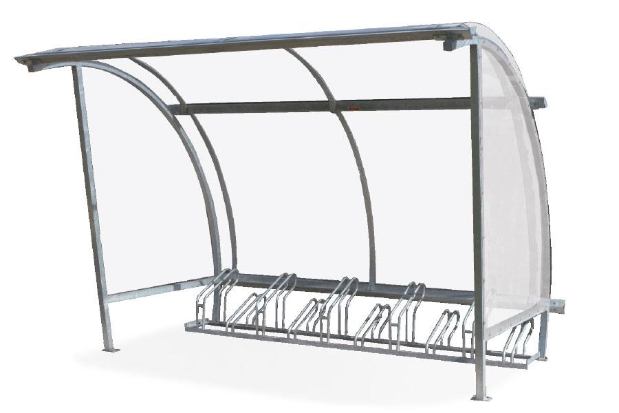 tettoia per biciclette con paratie laterali